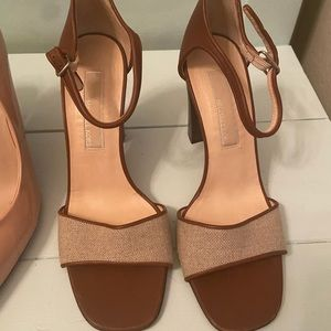 Michael kors tan linen and leather sandals